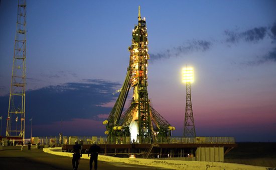 Soyuz-FG rocket carrying Soyuz MS-01 spacecraft launched from Baikonur Cosmodrome